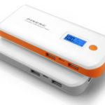 Bateria Lithium; Potência 10000mAh; Possui visor digital de porcentagem de bateria; Possui 2 entradas USB (1A~2.1A); Possui função lanterna.