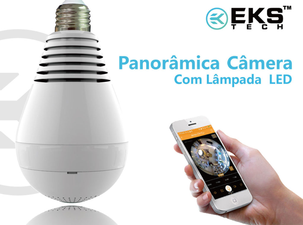 Lâmpada Espiã Câmera Ip Led Panorâmica 360º – EKS Tech
